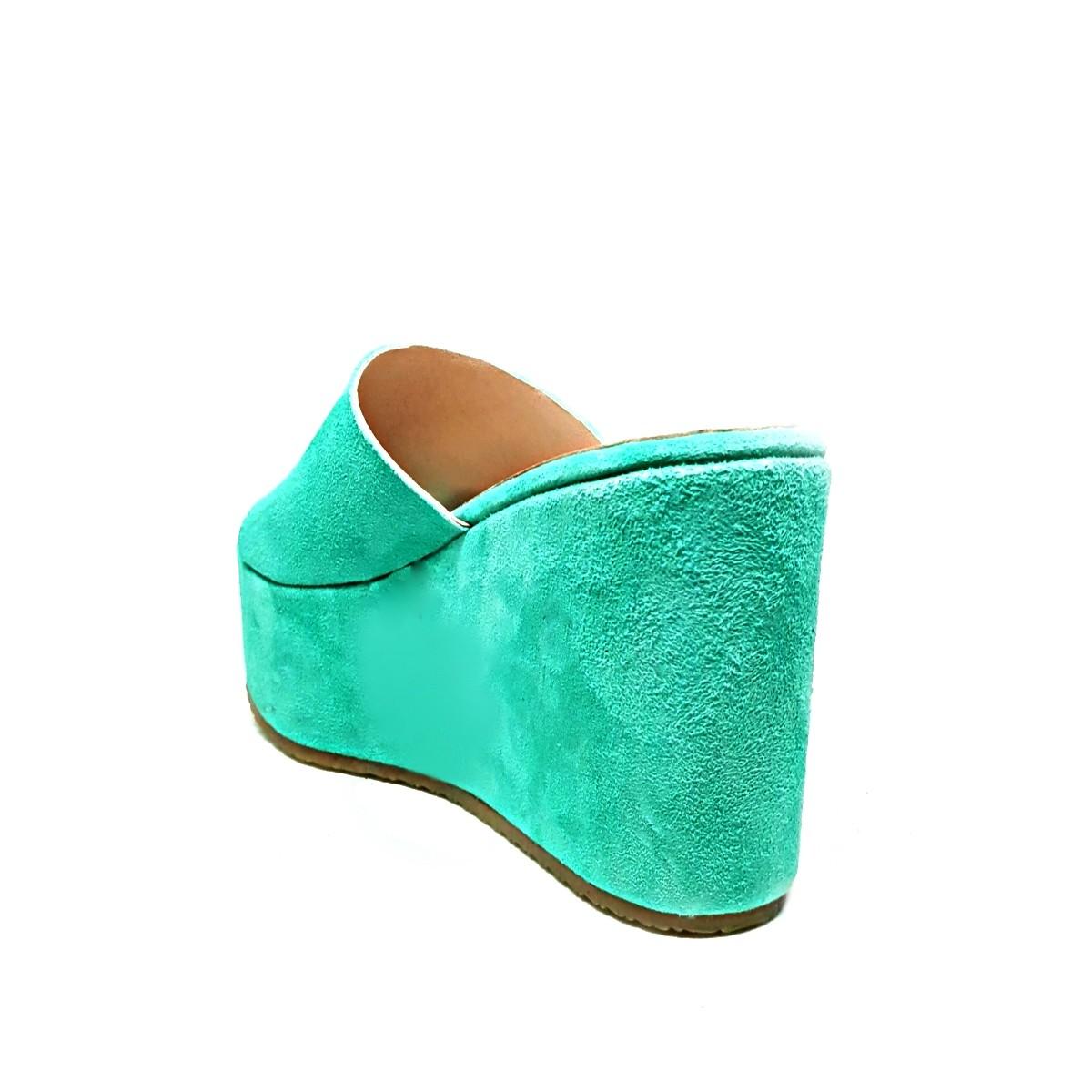 Φωτεινές πράσινες γυναικείες καστόρινες πλατφόρμες TESSERA